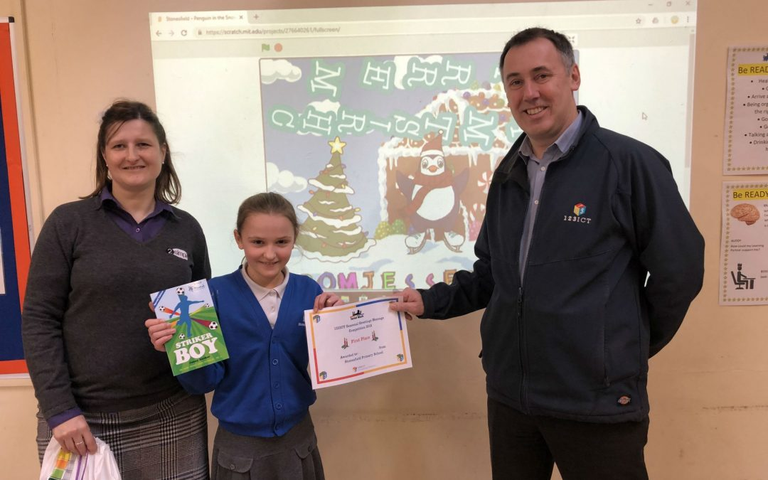 123ICT Computing Competition Winners, Stonesfield Primary School, Receive a Great Prize